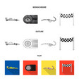 isolated object of car and rally sign set of car vector image vector image
