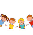 kids holding hands white background vector image vector image