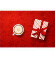 latte with valentines card gift box vector image