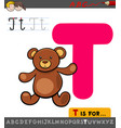 letter t educational worksheet with teddy vector image vector image