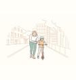 motherhood riding childhood training concept vector image vector image