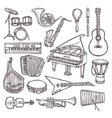 Musical instruments sketch icon vector image vector image
