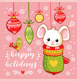 new year card with a cute little mouse vector image vector image