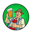 oktoberfest bavarian man with beer vector image vector image