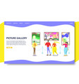 picture gallery website landing page design vector image vector image