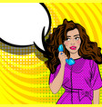 pop art cartoon woman talk hold hand retro phone vector image