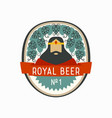 royal beer label with cartoon king and hop cones vector image vector image