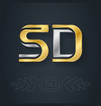s and d - initials or gold and silver logo sd vector image vector image