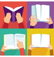 set hand holding books vector image