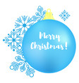 set of christmas blue ball and snowflakes merry vector image vector image