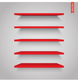 set plastic shelves isolated on wall vector image