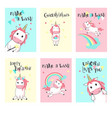 set unicorn birthday greeting cards vector image