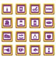 shop navigation foods icons set purple vector image vector image