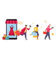 shopping concept human running with purchases vector image