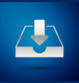 silver download inbox icon isolated on blue vector image vector image