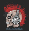 skull music headphone punk mohawk hair artw vector image