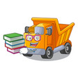 student with book character truck dump on trash vector image