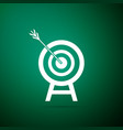 target with arrow isolated on green background vector image