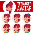 teen girl avatar set face emotions user vector image vector image