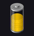 transparent glass battery high charging yellow vector image vector image