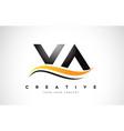 va v a swoosh letter logo design with modern vector image vector image