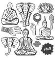 vintage buddhism religion elements set vector image vector image