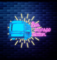 vintage bus transportation emblem glowing neon vector image