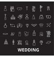 wedding editable line icons set on black vector image vector image