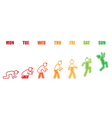 Weekly working life evolution colorful battery man vector image vector image