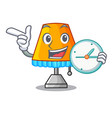 with clock cartoon table lamp beside in bed vector image