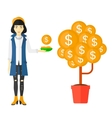 Woman catching dollar coins vector image vector image