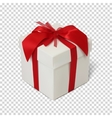 Gift box with red ribbon and bow vector image
