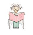 cartoon reading boy vector image