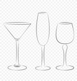 Three isolated outline glass for alcohol drinks vector image