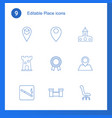 9 place icons vector image vector image