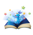 A book with a bunny surrounded with stars vector image vector image