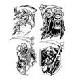 angel death crown devil skull set vector image vector image