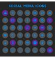 big social media icon set trendy flat icons vector image vector image