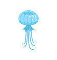 blue round form jellyfish ocean or sea creature vector image