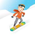 Boy Snowboarding vector image