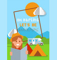 camping poster vacation and vector image
