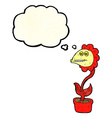 cartoon monster flower with thought bubble vector image