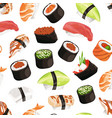 cartoon sushi types pattern vector image