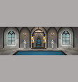 castle hall medieval palace with royal decor and vector image