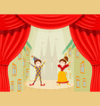 childrens theater a scene with two young actors vector image vector image