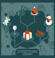 christmas color concept isometric icons vector image vector image