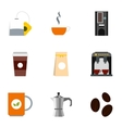 Coffee icons set flat style vector image