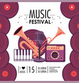 cornet and trumpet equipment to music festival vector image vector image