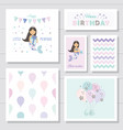 cute birthday cards set for girls little mermaid vector image vector image