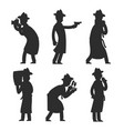 detective silhouettes isolated on white policeman vector image vector image
